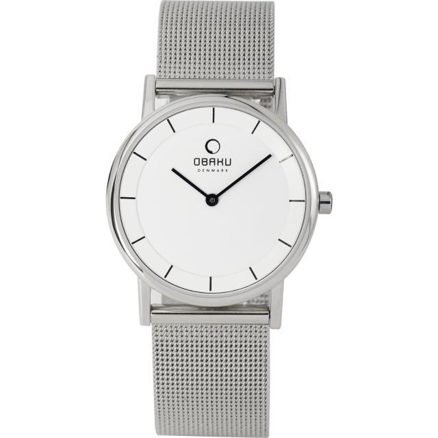 【OBAKU】纖薄哲學二針時尚米蘭腕錶-銀白/小(V143LCWMC)