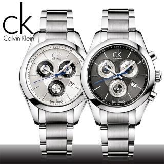 【瑞士 CK手錶 Calvin Klein】三眼計時不鏽鋼女錶(K0K28107/K0K28120)