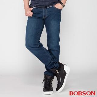 【BOBSON】男款低腰膠原蛋白彈性直筒褲(藍1790-53)