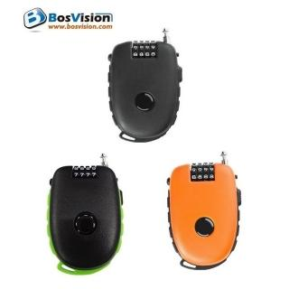 【Bosvision】多功用4字輪伸縮式鋼索密碼鎖+90公分鋼索(981)