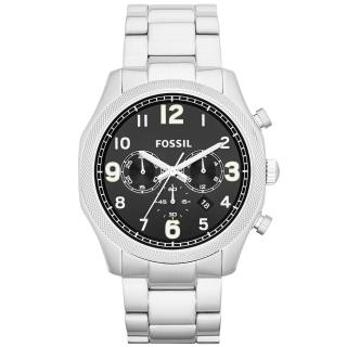 【FOSSIL】鋼鐵力士三眼計時碼錶-銀帶黑(FS4862)
