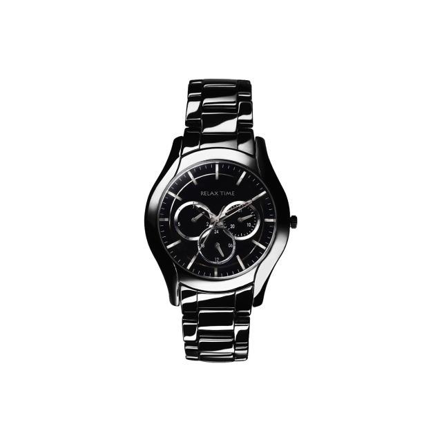 【Relax Time】嶄新系列日曆女錶-黑x銀/37mm(RT-35-3-5L)