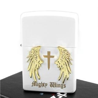 【ZIPPO】日系-Mighty Wings-天使翅膀立體貼飾打火機(白)