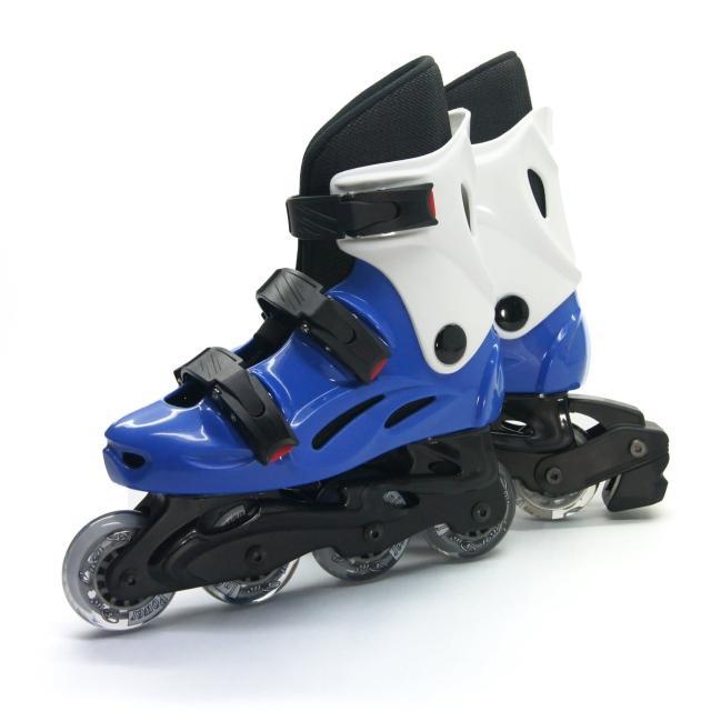 【D.L.D 多輪多】高塑鋼底座 專業直排輪 溜冰鞋(水藍白 -- 530)