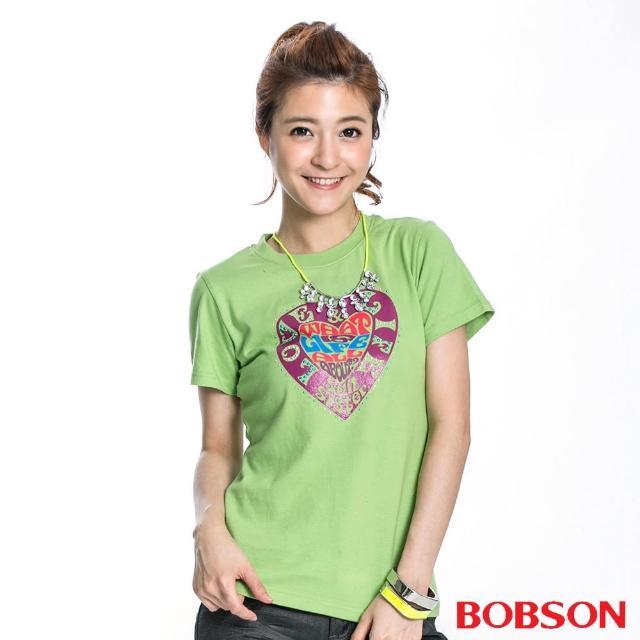 使用【BOBSON】女款心型印圖短袖上衣(果綠40)心得