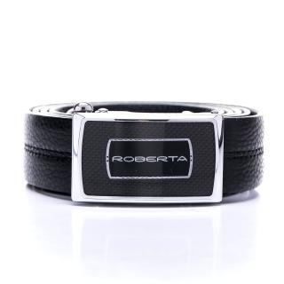 【Roberta Colum】風凡氣度款碳纖自動金屬滑扣黑牛皮皮帶