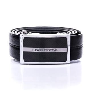 【Roberta Colum】精準時尚款碳纖自動金屬滑扣黑牛皮皮帶