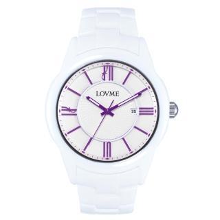 【LOVME】羅馬戀人陶瓷時尚腕錶-白x紫刻度(VC0291M-22-2N1)