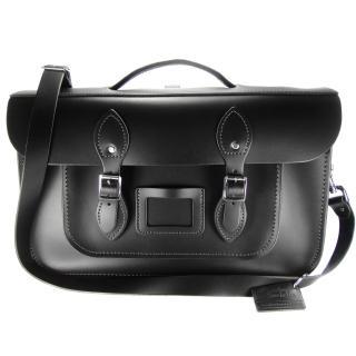 【The Leather Satchel Co.】15吋 英國手工牛皮劍橋包 肩背包多功能三用包(火炭黑)