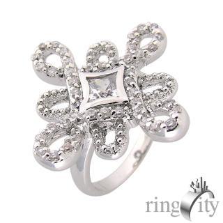 【RingCity】十字星鋯石繩結環繞鏤空鑽戒(白鑽色系列)