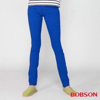 【BOBSON】女款高腰大彈力緊身褲(寶藍8110-50)