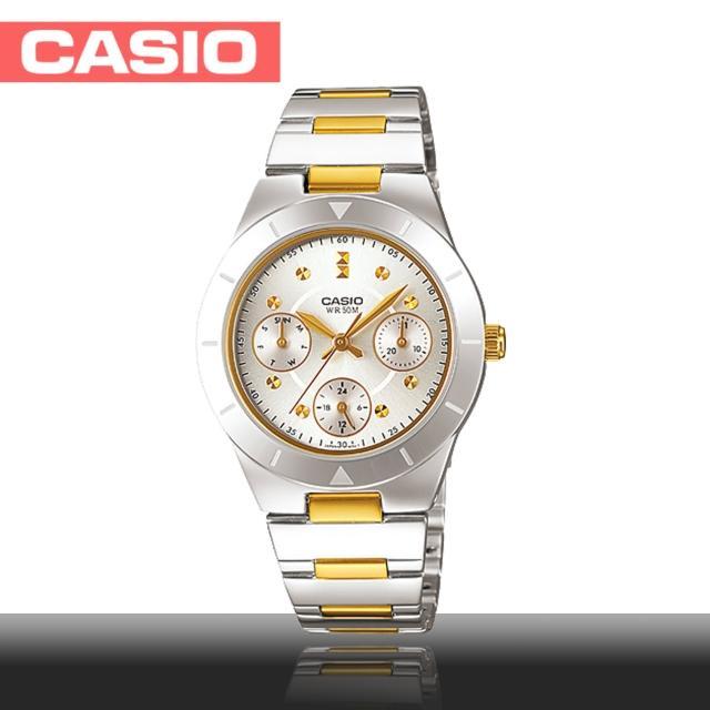 【CASIO 卡西歐】三眼造型半金氣質淑女錶(LTP-2083SG-7A)