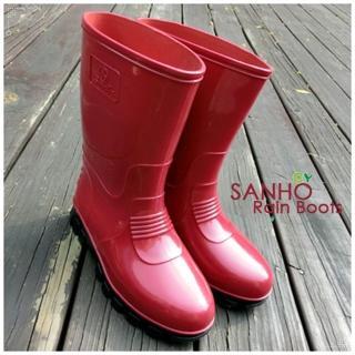 【Sanho】典雅式長雨靴(蘋果紅)