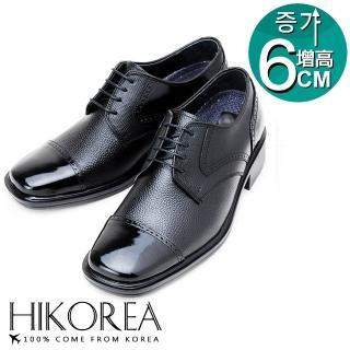 【HIKOREA韓國增高鞋】正韓製。紳士隱形增高6cm精選復刻真皮方頭皮鞋(7-6009/現貨)