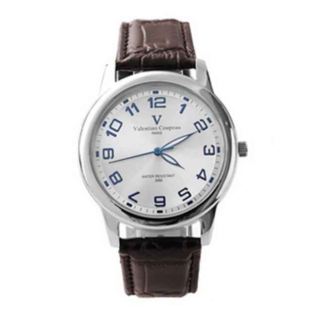 【范倫鐵諾˙古柏】光碟錶盤設計真皮手錶腕錶 情人對錶