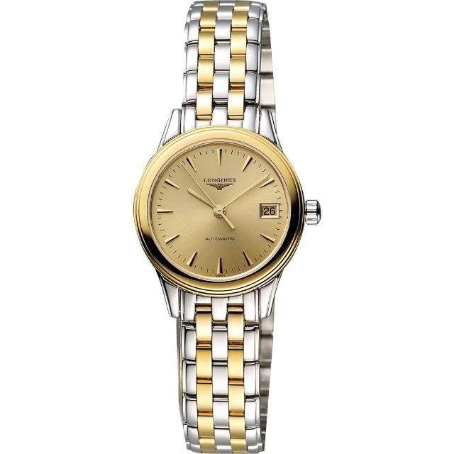 【LONGINES】旗艦系列經典光輝機械女錶-金x雙色版/26mm(L42743327)