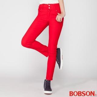 【BOBSON】女款高腰強彈力小直筒褲(紅8112-13)