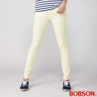 【BOBSON】女款高腰強彈力小直筒褲(米黃8112-80)