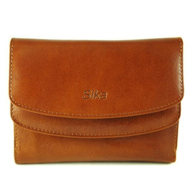 【Sika】義大利時尚真皮雙蓋中夾(A8205-01原味褐)