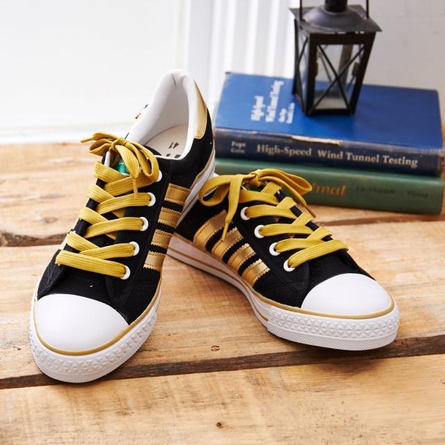 【中國強】MIT 百搭休閒帆布鞋CH83(黑金)