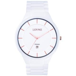 【LOVME】Concise陶瓷時尚腕錶-白x玫瑰金刻度(VC0288M-22-241)
