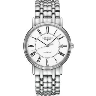 【LONGINES】Presence 經典羅馬機械腕錶-白/38.5mm(L49214116)