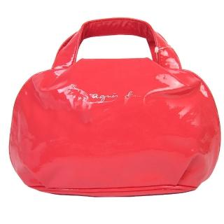 【agnes b】亮面軟皮小手提包(橘紅)