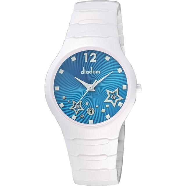 【Diadem】黛亞登 甜蜜星空時尚白陶瓷腕錶-藍/36mm(9D1407-541SD-B)