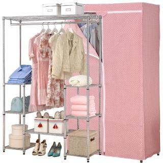【克諾斯】120*45*180八層防塵衣櫥架(粉紅點點)
