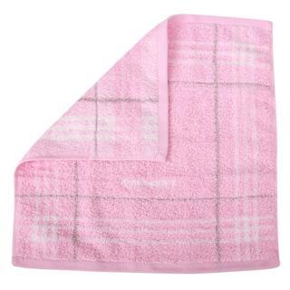 【BURBERRY 巴寶莉】經典格紋LOGO純棉方巾/毛巾(粉紅)