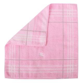 【BURBERRY 巴寶莉】經典格紋戰馬LOGO純棉方巾/毛巾(粉紅)
