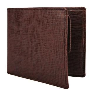 【DAKS】經典LOGO壓紋素面防刮皮革零錢袋短夾(紅棕色)