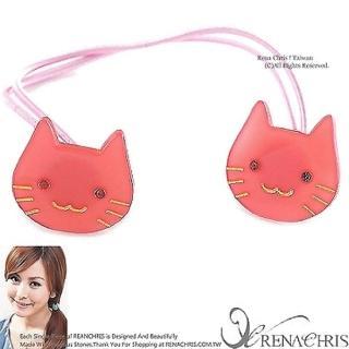 【Rena Chris】粉口愛水晶小貓咪 ˙雙頭髮束(PINK)