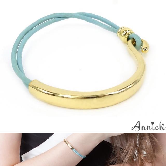 【Annick】Carina易勾式真皮皮革雙圈手環(湖水藍)網友最愛商品