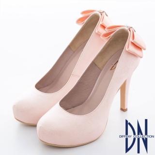 【DN】耀眼迷人 華麗金蔥蝴蝶結鑲鑽新娘晚宴鞋 粉