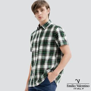 【Emilio Valentino 范倫提諾】水洗格紋襯衫(綠灰)