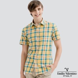 【Emilio Valentino 范倫提諾】水洗格紋襯衫(黃藍)