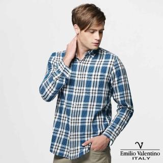 【Emilio Valentino 范倫提諾】水洗格紋長袖襯衫(藍)