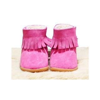 【shooshoos】安全無毒真皮健康手工童鞋/靴子_熱情粉流蘇靴(公司貨)