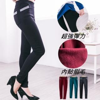 【衣心衣意中大尺碼】雙層刷毛平織彈性格子口袋保暖窄管內搭褲(黑-綠-紅YD1A7005)