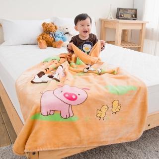 【eyah】頂級超舒柔雙面雪貂絨童毯/嬰幼兒毯(動物農場-桔)