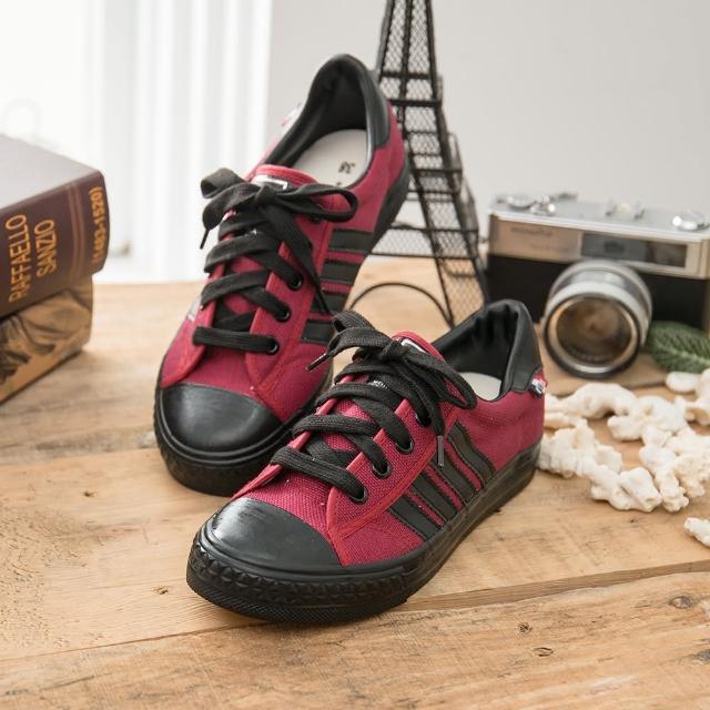 【中國強】中國強 MIT 經典休閒帆布鞋CH89(紅黑)