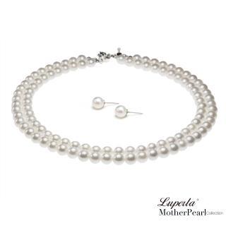 【大東山珠寶】8mm南洋貝寶珠雙串項鍊套組(白)