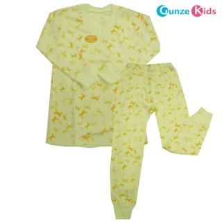 【Gunze日本郡是】女童純綿成套家居服(蝴蝶結黃/100-165公分)