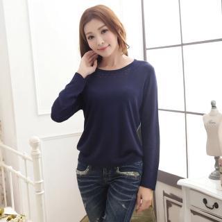 【Chlansilk闕蘭絹】出清特價舒適感100%蠶絲針織上衣-611(深藍)