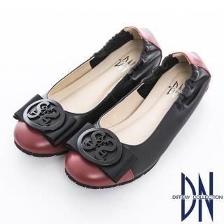 【DN】舒適樂活 鏤空圓飾雙色牛皮拼接娃娃鞋(紅)