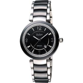【Diadem】黛亞登 都會女伶晶鑽陶瓷腕錶-黑(8D1407-511DD-D)