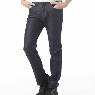 【RH紳士品格】型男簡約牛仔長褲(深藍色黑細格紋實碼實腰)