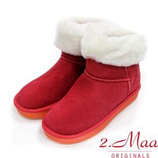 【2.Maa】個性撞色牛麂皮反折暖暖雪靴(聖誕紅)