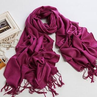 【轉行賣絲巾】純色圍巾 柔軟保暖批肩(紫色009DL)